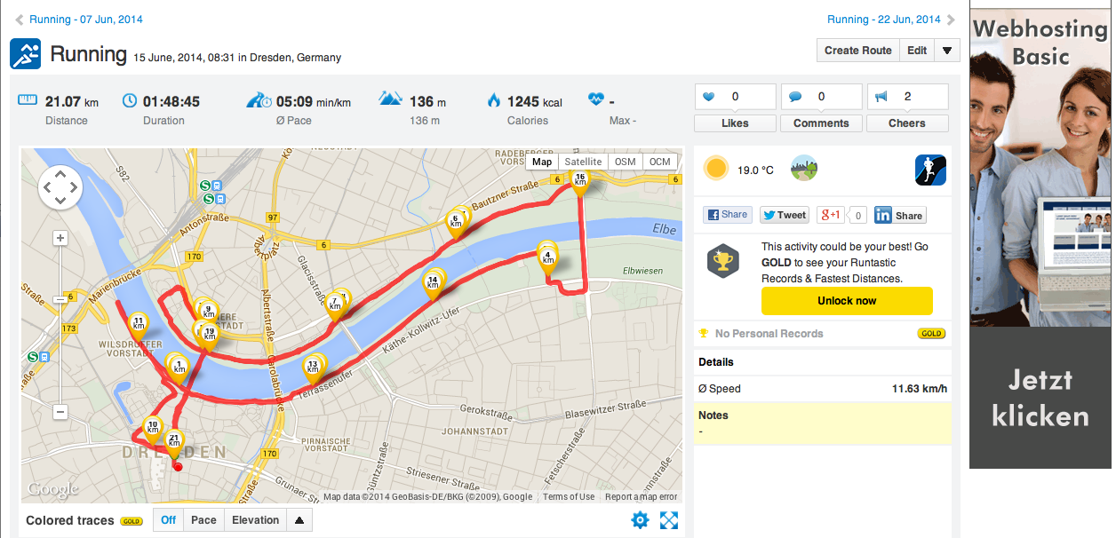 Aktueller Leistungsstand , Halbmarathon beim Stadtlauf Dresden