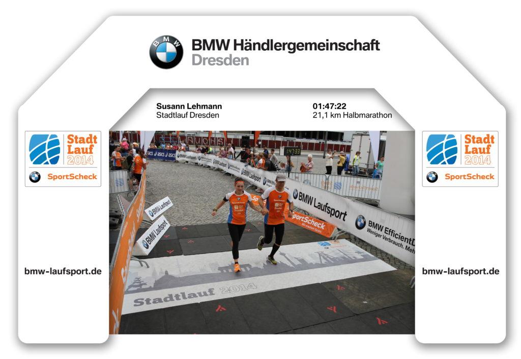 Zieleinlauf beim Stadtlauf Dresden