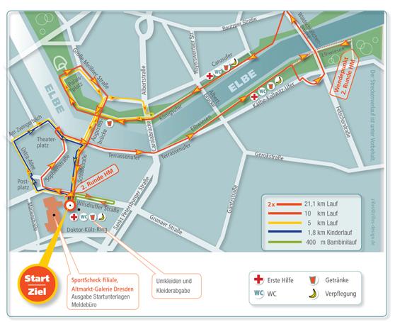 Streckenplan Dresden für den Stadtlauf Dresden