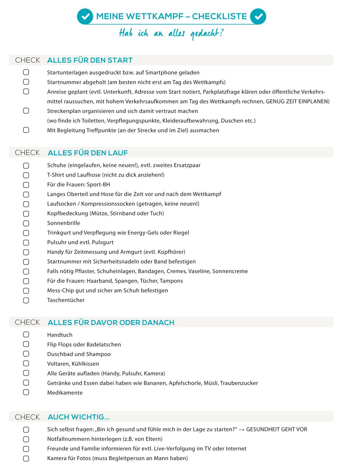 Wettkampf-Checkliste