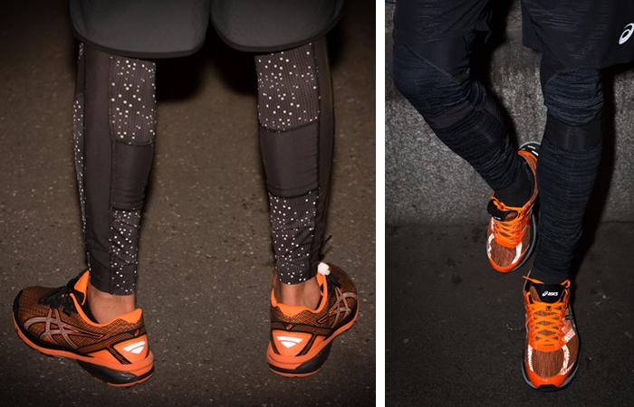 Laufkleidung: Schuhe und Hosen von Asics, welche reflektieren und im Winter für Sicherheit sorgen