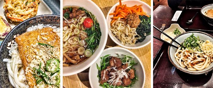 Typisch japanisches Gericht: Udon-Nudeln und Ramen-Suppe