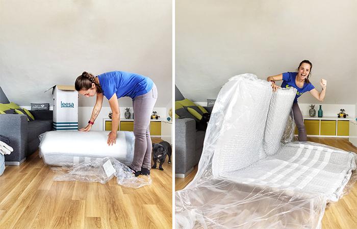 Leesa Matratze aufklappen und auf dem Bett auslegen