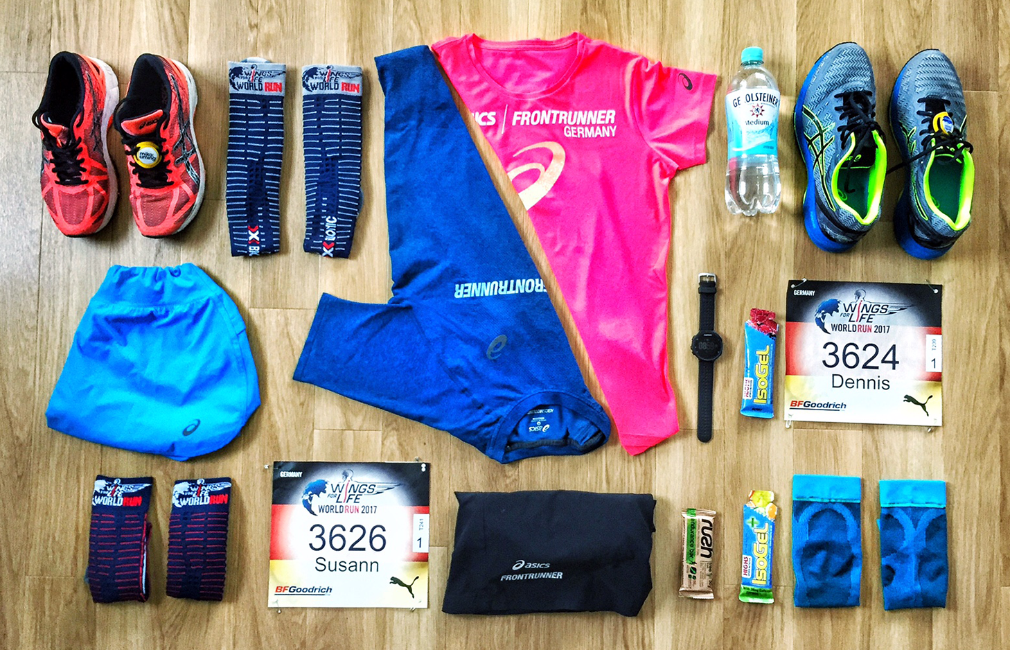 Outfit und Gerolsteiner Mineralwasser zum Wings For Life World Run in München 2017