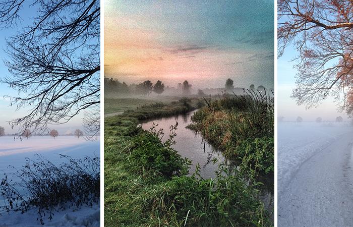 Laufen im Sommer, Laufen im Winter, Laufen im Frühling, Laufen im Herbst