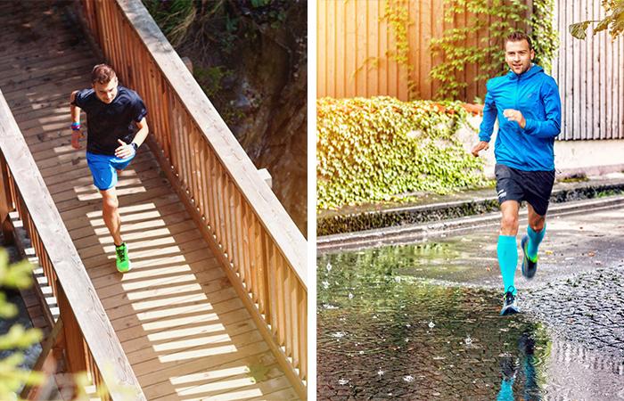 Laufen bei Hitze, Joggen im Regen