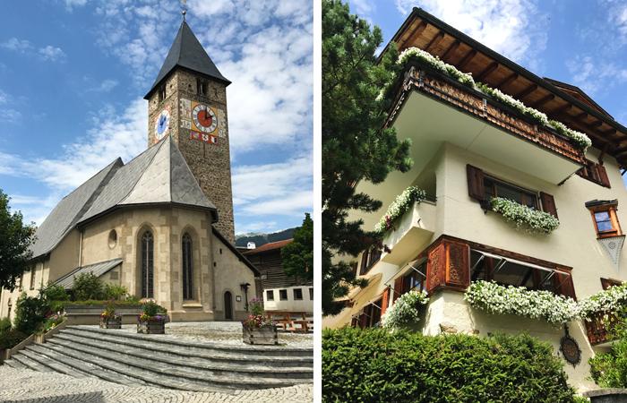 Kirche und Haus in Klosters