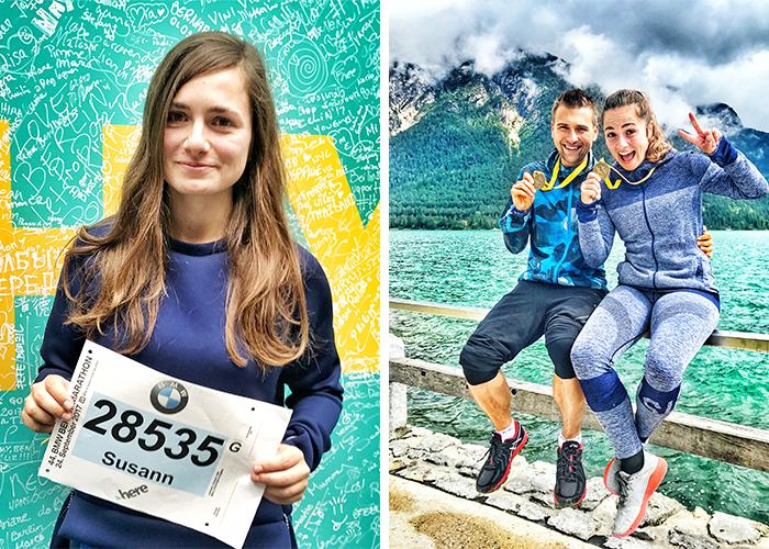 Startnummer beim Berlin Marathon 2017 und im Ziel mit Finisher-Medaille beim Achenseelauf 2017