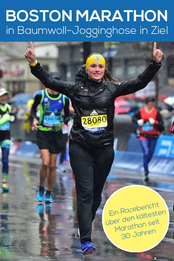 Zieleinlauf Boston Marathon, Boston Marathon 2018, Regenmarathon, Frau mit Jogginghose
