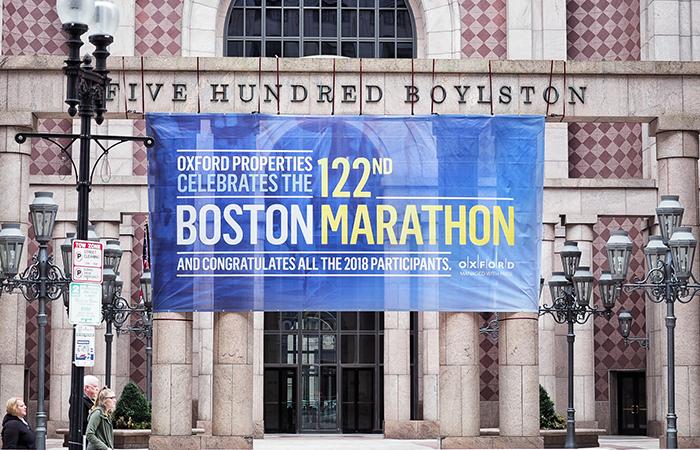 Plakat Boston Marathon an der Boylston Street,Boston Marathon