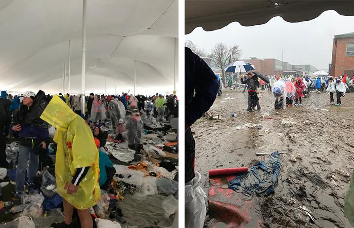 Zelt und Schlamm beim Boston Marathon, Athletendorf Marathon, Regen, Kälte