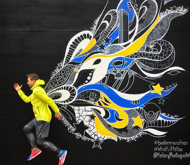 Lenox Hotel Boston, Graffiti-Wand, Street, Mann springen, Kunst
