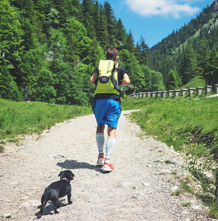 Bauerfeind Kompression Sleeves, Kompressionssocken, Kompressionsstrümpfe Laufen, Kompression Running, Wandern mit Hund, Laufen mit Hund