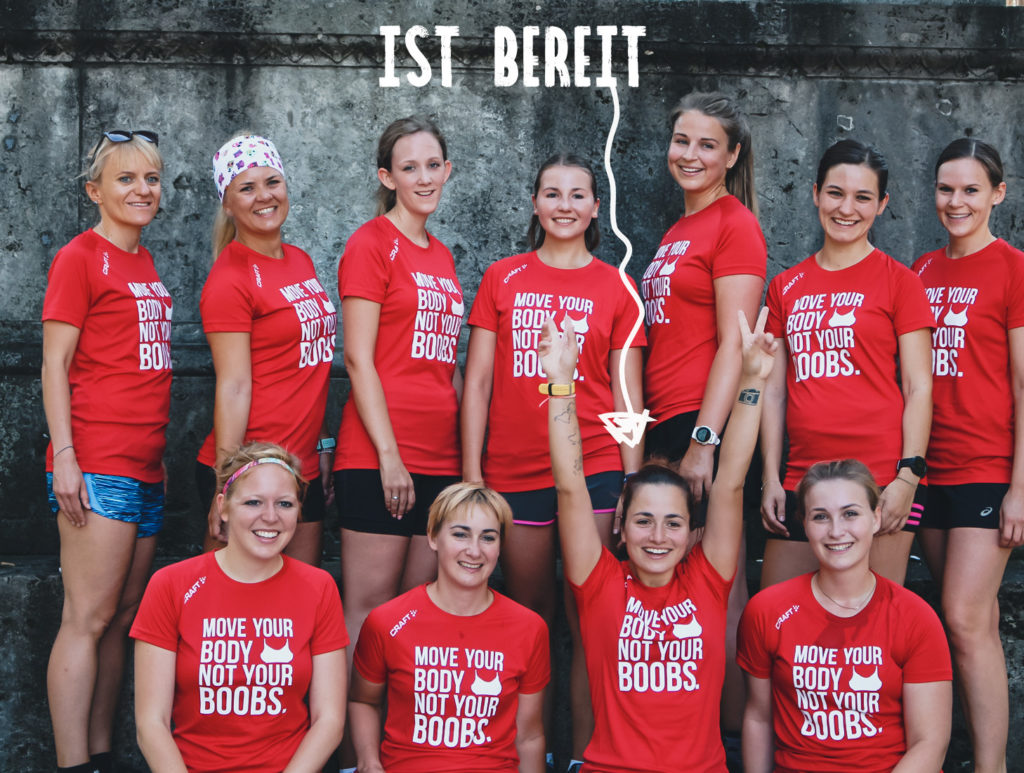 Bereit für den ersten Marathon, Frauen, rote T-Shirts, Anita-Sport-BH