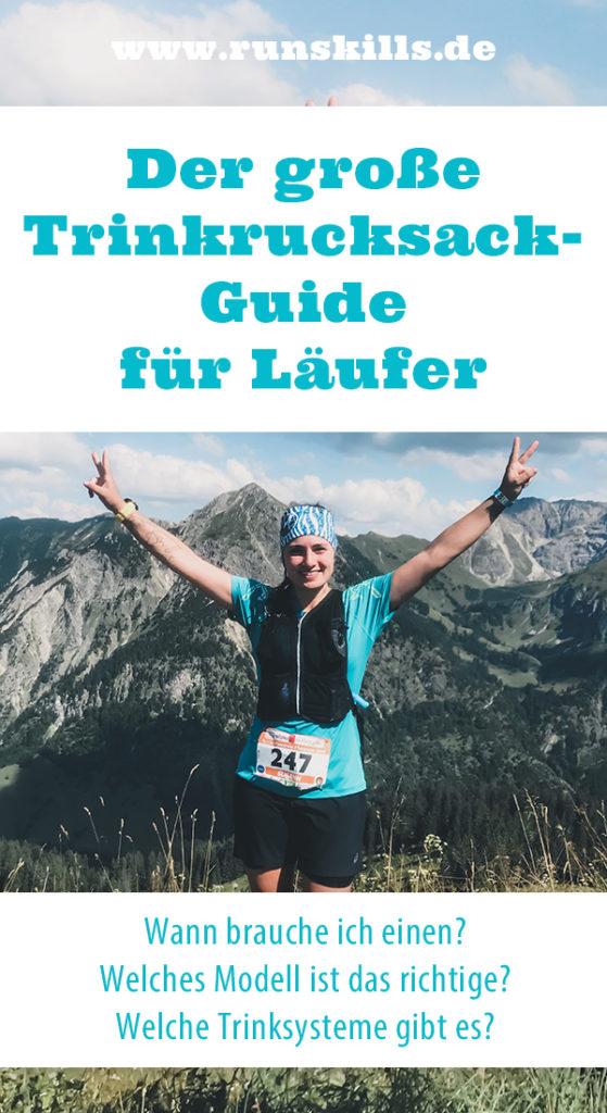Trinkrucksack, Laufrucksack, Trinkweste, Laufrucksack mit Trinksystem, Trinkblase, Laufrucksack, Trailrunning Rucksack, Trailrunner, Trailrunning, Allgäu Panorama Marathon, Ultrarunning, Frau mit blauen T-Shirt läuft, auf dem berg