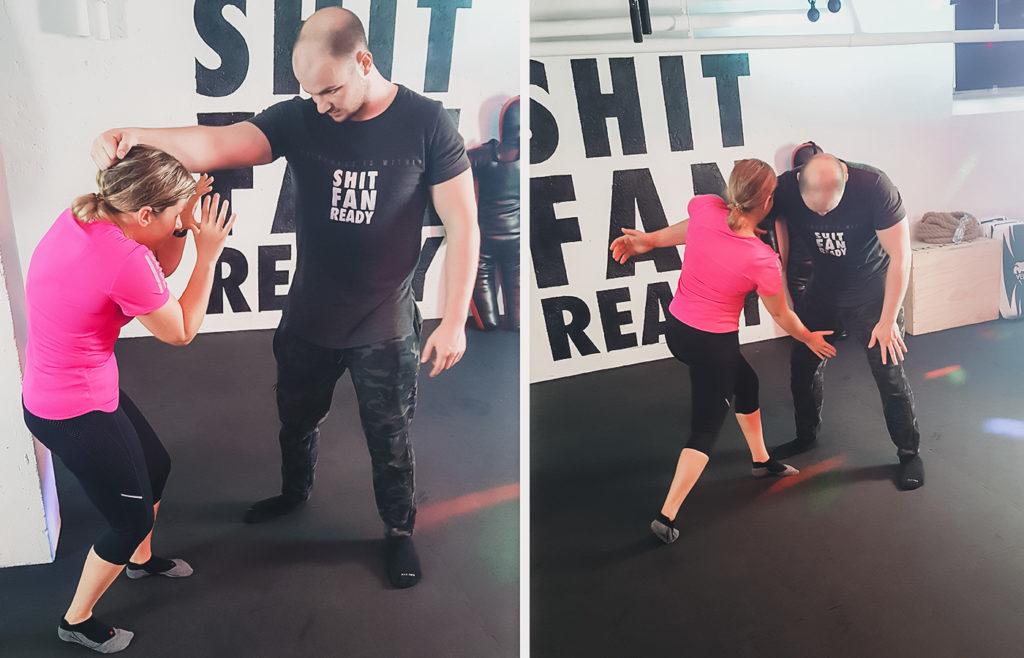 Mira Fischer, Teilnehmerin des Selbstverteidgungskurses für Frauen beim Joggen führt das Gelernte aus. Erst schützt sie sich mit den Händen das Gesicht, dann geht sie zum Angriff über.